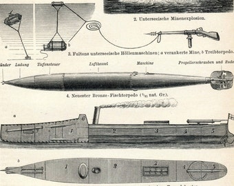 1894 Antique German Engraving of Torpedo and Sea Mines