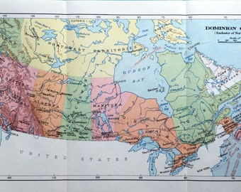1930s Vintage Map of the Dominion of Canada (Exclusive of Northern Regions)