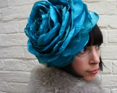Giant recycled turquoise rose flower headpiece/ fascinator winter christmas wedding
