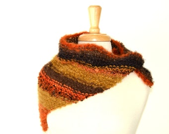 Hand Knit Multicolor Triangle Scarf, Autumn Bandit Scarf, One of a Kind Neckwarmer