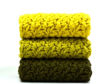 Bright Forest Crochet Washcloths Cotton Crocheted Dishcloths