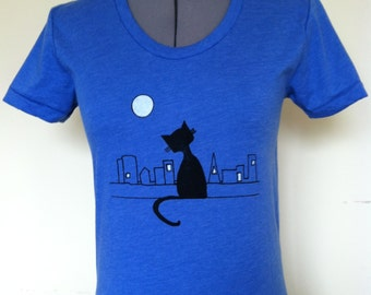 Cat City Shirt Women American Apparel Heather Lake Blue Sizes Small through XLarge