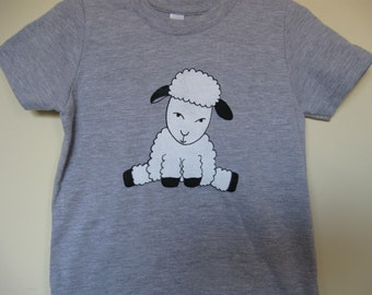 Lamb Baby T Shirt for Babies and Children Heather Grey American Apparel Year of the Sheep