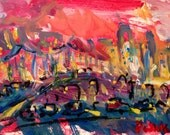 Abstract city painting modern art, contemporary painting, expressionist art, red sky / Russ Potak