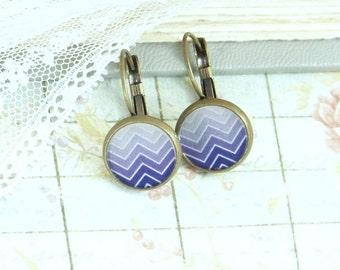 Purple Ombre Earrings Purple Chevron Earrings Purple Dangle Earrings Purple Ombre Jewelry Purple Earrings