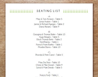 Printable Seating List - Wedding Seating List Template - Instant Download - Seating Chart PDF - Green Dots - Rows of Green Dots Seating List