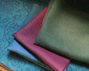 Jewel tone linen dinner napkins 18 x 18 set of four your choice of color home decor