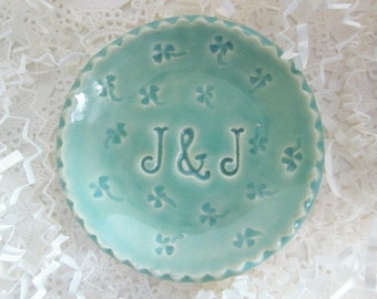 Four leaf clover Ring holder dish, In Stock initials J & J,  mint green monogrammed ring bowl