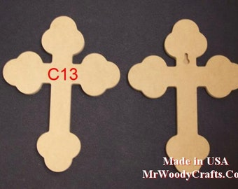 "9"" x 12"" 1/2"" Thick Unfinished Wooden Crosses, Choose from 8 styles, Ready to Paint, w/key holes.  091250"