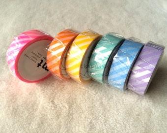 mt Washi Masking Tape - mt1P Stripes - Set of 6 - Shocking Pink / Orange / Yellow / Mint / Baby Blue / Lilac