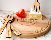 Personalized cheese board and cheese marker forks, custom serving board, wooden cutting board, wedding anniversary gift