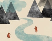 River friends Print 8 x 11.5 - Home Decor digital illustration mountains clouds bears