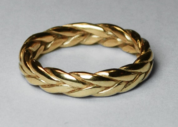 Large 5mm Wide, Solid 14k Yellow Gold Braid Ring, Sizes 10-12.5