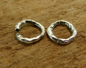 Rustic Round Open Links Artisan Sterling Silver Rustic Open Jump Rings - 2 Pieces - Large Handmade Jump Rings -  lrrco