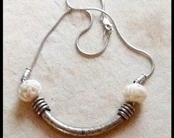 Vintage sterling and bone necklace