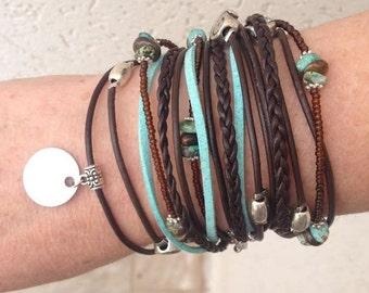 Modern Bohemian Wrap Bracelet - Multistrand Wrap - Brown Braided Leather Bracelet - Infinity Wrap - Best Selling Item - Choose ONE Charm