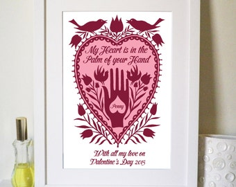 "Valentine ""Hand in Heart"" Folk Art Inspired Personalised Print"