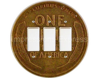 Wheat Penny Coin Triple Decora Rocker Switch Plate Cover