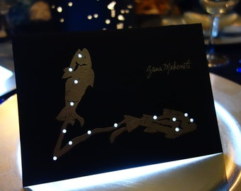 PISCES, the FISH, February 19 - March 20 Birthday Shadow Zodiac Constellations Greek Illustrations Hand Embossed Hammered Greeting Art Card