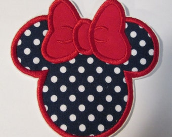 Embroidered Mouse Head Navy Dot with Red Bow - Iron On or Sew On Applique for Children