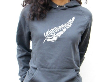 Womens Flow Feather Sweatshirt American Apparel California Fleece Pocket Pullover Hoodie - XS, Small, Medium, Large, XL, 2XL