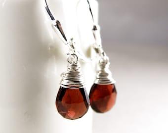 Garnet Teardrop Earrings, Red Stone, Natural Garnet Earrings, Gemstone, Drop, Dangle, Sterling Silver, January Birthstone, Handmade Jewelry