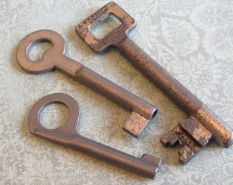 Skeleton Keys - Vintage Antique keys-  Barrel keys- Steampunk - Altered art L97
