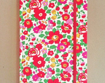 Liberty Covered Hardback Notebook Betsy S Scarlet Magenta PLAIN UNLINED