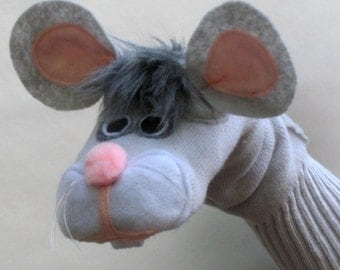 SALE Gray Mouse Sock Puppet Handmade toy
