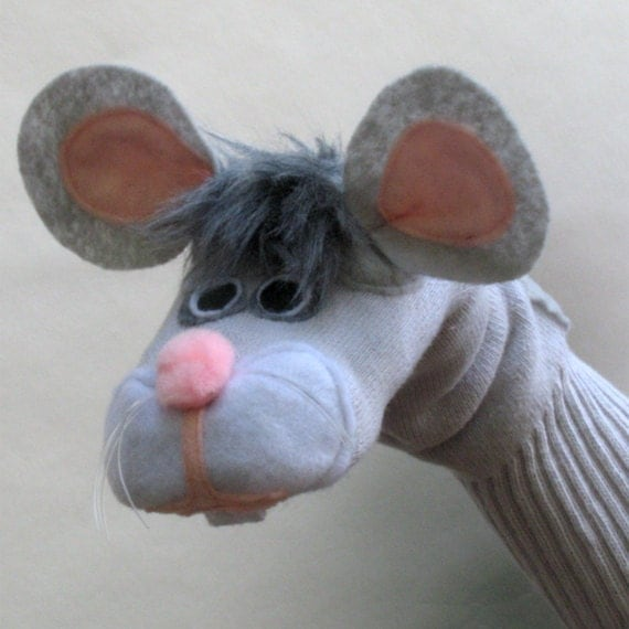 Gray Mouse Sock Puppet Handmade toy