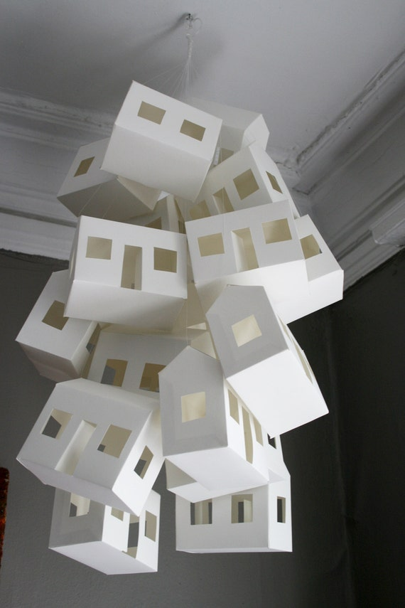 Small Paper House Mobile in White