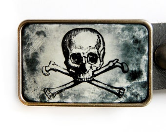 Skull and Crossbones Black and White Belt Buckle