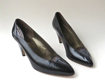 80s vintage  Amalfi Avant Garde Black Leather Pumps NOS / made in Italy