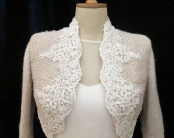 Bridal Bolero, Wedding Shrug,  Wool Knit Bolero, Wedding Wrap, Bridal Wrap , Bridal Champagne Jacket, Bridal Sweater,  3/4 Sleeve Sweater