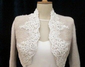 Bridal Bolero, Wedding Shrug,  Wool Knit Bolero, Wedding Wrap, Bridal Wrap , Bridal Champagne Jacket, Bridal Sweater,  3/4 Sleeve Sweater