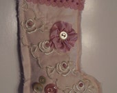 Mauve Pink Crazy Quilted Stocking Ornament