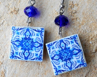 Portugal  Antique Tile Replica Earrings,  Blue  - AVEIRO - (see house!) waterproof and reversible 496