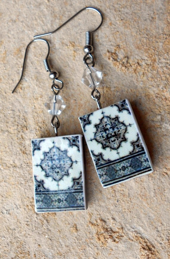Portugal  Antique Tile Replica Earrings,  Ilhavo,  Black and Gray (see house!) - waterproof and reversible 580