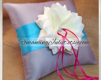 10 inch Satin and Sash Ring Pillow with Large Rhinestone Center Rose..Choose The Colors..shown in silver gray/turquoise/dark fuschia/ivory