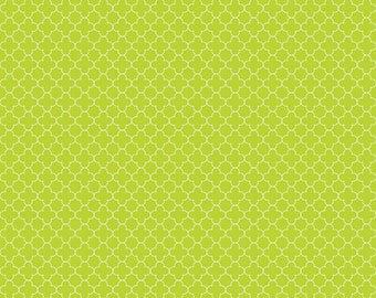 SUMMER SALE - Mini Quatrefoil Cotton in Lime - 1 Yard - C345-32 Lime - by Rbd Designers for Riley Blake Designs