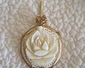 RESERVED Pendant Carved Bone Rose Blossom  1940's Wrapped in 10K Gold Wire