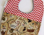 Baby Bib - Pirate Treasure Map with Red and White Chevron on Gray Minky