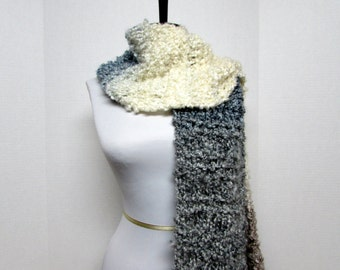 Drop Stitch Knit Scarf in Cream, Gray, Slate Blue and Taupe - Ready To Ship Women's Fringe Long Scarf Girl's Scarf Off White Scarf
