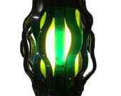 Wavelengths Lamp, Diverted series, Recycled Glass Mosaic Lamp - Citron and Cobalt