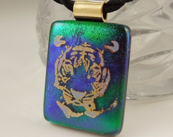 Tiger Necklace - Dichroic Fused Glass Pendant - Fused Glass - Dichroic Glass - Animal Print - Wild Life - African - 22K Gold X8239