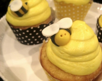 Bumble Bee Cupcake Toppers Cake Decor