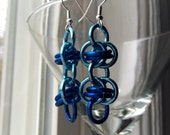 Blue Chainmail Earrings Chainmaille Earrings Chainmail Jewelry Dangle Earrings Chainmaille Jewelry Chain Mail Earrings Chain Earrings