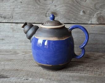 Blue Rustic Teapot -   - Stoneware teapot blue rustic white inside