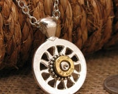 Bullet Jewelry - Flywheel or Sunburst Brass 32 Auto/380 Bullet Casing Pendant Necklace - Exclusively from SureShot Jewelry