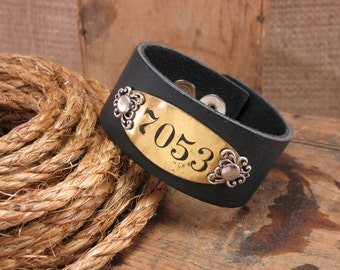 Leather Cuff Bracelets - Upcycled Hotel Room Brass Number Plate Brown Leather Cuff Bracelet -  Repurposed Metal Tags